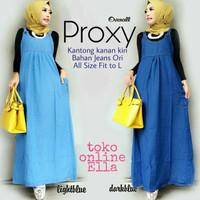 Proxy Overall - long dress tanpa lengan bahan jeans ori.