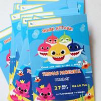 undangan tema baby shark / baby shark invitation