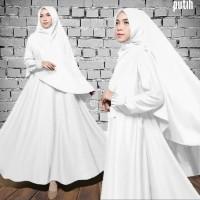 dress gamis muslim amizha syari polos putih