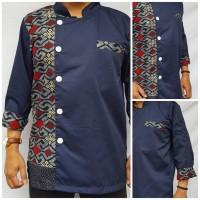 Baju Chef Pria Kombinasi Batik model 3
