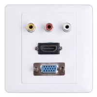 Faceplate HDMI, VGA dan RCA AV / Stop Kontak HDMI, VGA dan 3 RCA