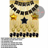 "Paket Dekorasi Happy Birthday Tema ""BLACK & GOLD"""