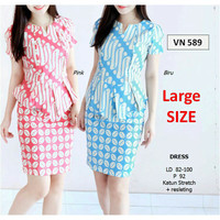 VN 589 Peplum Batik V Neck Dress Pastel Import