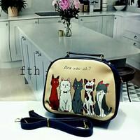 tas wanita selempang mini tas jinjing Real pict motif kucing lucu