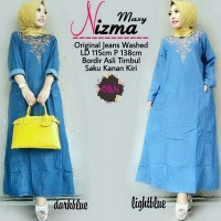Jual Murah Nizma Maxi Dress Gamis Muslim Jeans Washed Bordir Fit Jumbo Murah