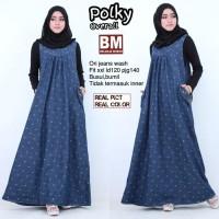 Murah Polka Overall Maxi Dress Gamis Muslim Jeans Jumbo Big Size