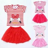 New Baju Setelan Anak Bayi Perempuan Kaos Garis Pita Minnie Rok Tutu