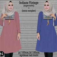 Busana Wanita tunik Muslim Murah 59217 indiana vintage/baju batik