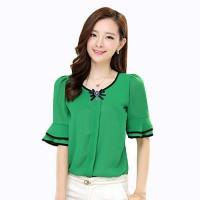 Pakaian Wanita Murah Blus Model korea dengan variasi bros Baju trendy
