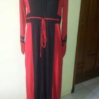 gamis kaos warna merah hitam ukuran L, LB 100cm pjg baju  140cm