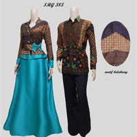 Baju couple batik sarimbit gamis pesta pasangan seragam SRG 385
