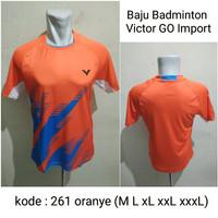 Baju Badminton Victor 261 Oranye Kaos Badminton Bulutangkis Import