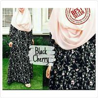 baju gamis bahan katun jepang black cerry bahan adem all size Gojek!!