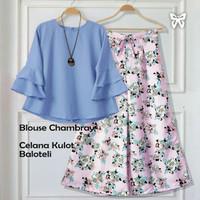 bella setelan set pastel blouse + celana kulot pants panjang flower