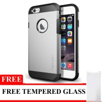Spigen Slim Armor For iPhone 4/4S Free Tempered Glass - Silver