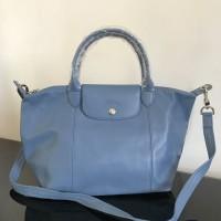 Longchamp bag original cuir genuine leather skyblue tote tas wanita