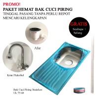 PROMO! Paket Hemat Bak Cuci Piring 75x40 +Kran+Afur /Kitchen Sink+Kera