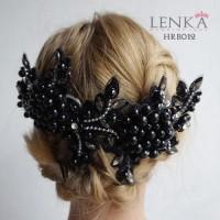 Headpiece Mutiara Pengantin Hitam Wanita l Aksesoris  Lenka - HB012