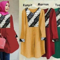 Gamis Promo 58206 long top qarina/baju batik wanita/atasan muslim
