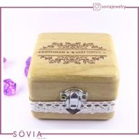 kotak kayu untuk tempat perhiasan cincin nikah elegan spesial