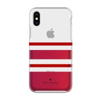 Kate Spade iPhone X Protective Hardshell Case - Charlotte Stripe Red
