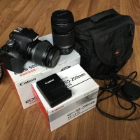 Kamera DSLR Canon EOS 500D + Lensa EFS 55-250mm IS & EFS 18-55 IS