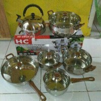 HC Panci Set 12pcs Cookware stainless steel alat masak Murah