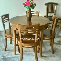 Meja kursi makan resto cafe dari kayu jati Jepara Free Ongkir