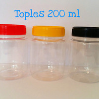 Toples plastik 200 ml bulat /toples sambal / toples bumbu/toples selai