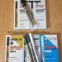 Spidol emas / Snowman gold / silver marker extra fine point