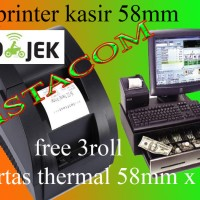 Printer Kasir Thermal 58MM..FREE 5 ROLL KERTAS 58 x30 mm.