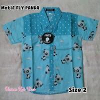 KEMEJA ANAK LAKI-LAKI ZAM'S CLOTHING MOTIF FLY PANDA SIZE 2