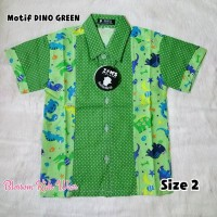 KEMEJA ANAK LAKI-LAKI ZAM'S CLOTHING MOTIF DINO GREEN SIZE 2