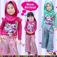 501-4 Baju Setelan Muslim Anak Perempuan Lp Heart Kulot Pita