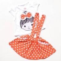 Baju Setelan Anak Bayi Cewek Perempuan Kaos Rok Overall Diskon