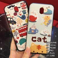 FOR SAMSUNG J7, J7 PRO, J7 PRIME - LONDON CAT 3D RELIEF CASE CASING