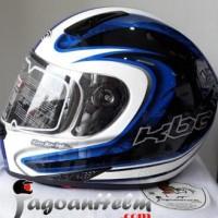 Jual KBC Helm VK ZERO| White ~ Blue Black | Fullface DDring Visor Flat
