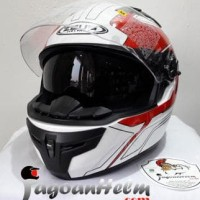 Jual ZEUS Helm ZS813 AN6 | Pattern 813 White Red | ZS-813 Double Visor