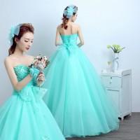 Ready Stock Gaun Pengantin 1801009 Hijau Tosca Wedding Gown