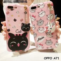 FOR OPPO A71 - CUTE NEKO CAT HEAD TASSEL PANDANT SOFT CASE CASING