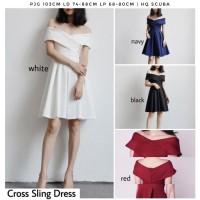 CROSS SLING DRESS SABRINA DRESS WANITA MIDI FLARE DRESS WANITA IMPORT