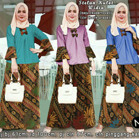 Stelan blouse Muslim + celana kulot panjang batik