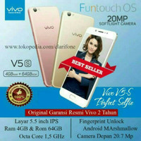 HP VIVO V5S - RAM 4/64 GB - SETARA OPPO F3 - FREE GIFT BOX -  GOLD