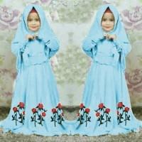 [Syari Anak Marsha Biru Muda SW] baju muslim anak perempuan jersey bir