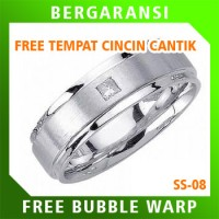 Cincin Kawin Wedding Ring BONUS Tempat Cincin Tunangan Silver SS08