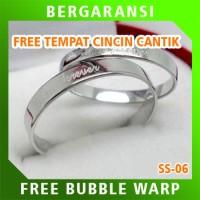 Cincin Kawin Wedding Ring BONUS Tempat Cincin Tunangan Silver SS06