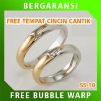 Cincin Kawin Wedding Ring BONUS Tempat Cincin Tunangan Silver SS10