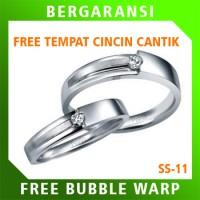 Cincin Kawin Wedding Ring BONUS Tempat Cincin Tunangan Silver SS11