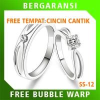 Cincin Kawin Wedding Ring BONUS Tempat Cincin Tunangan Silver SS12