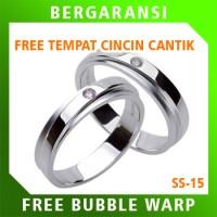 Cincin Kawin Wedding Ring BONUS Tempat Cincin Tunangan Silver SS15